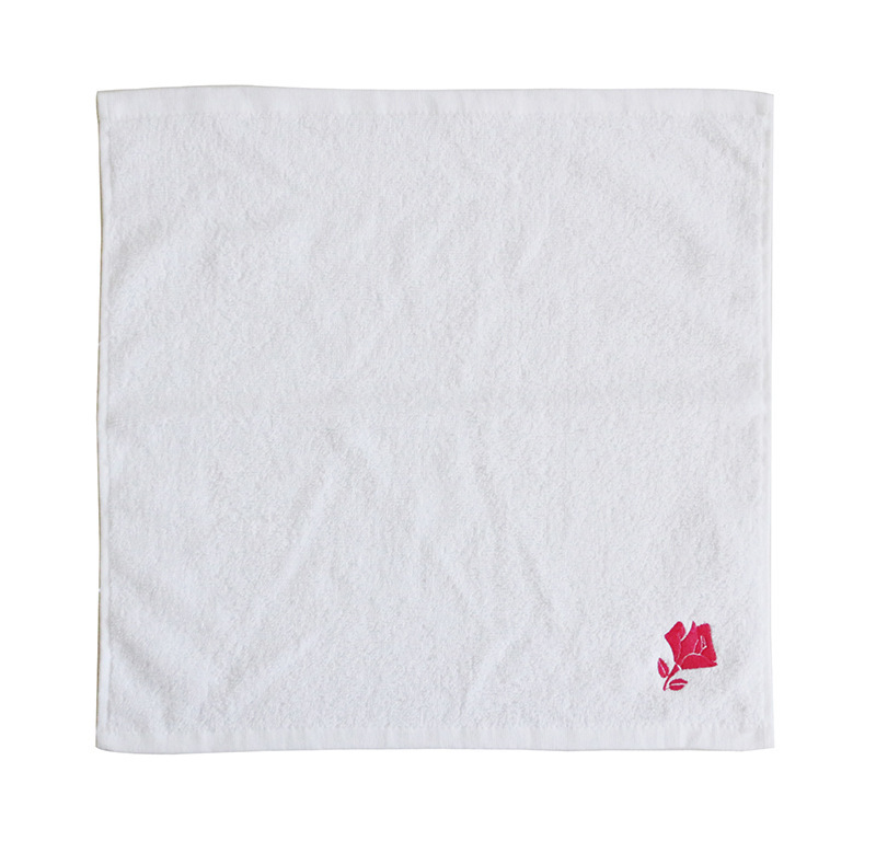 Custom 100% Cotton White Embroidered Kids Baby Hand Towel Handkerchief with Logo