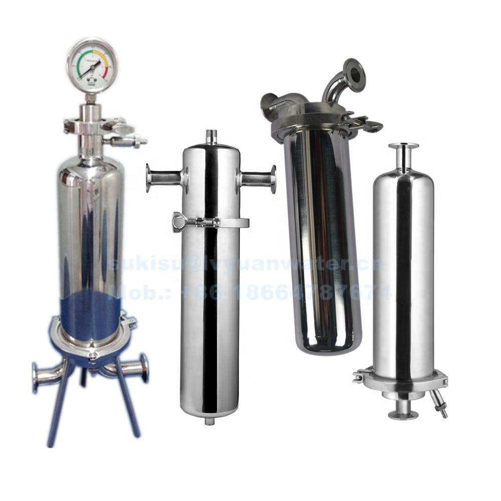 Customized Sterile Sanitary Pipe Triclamp Filter Single Cartridge Housing/Vessel for Liquid/Gas Purification Treatment
