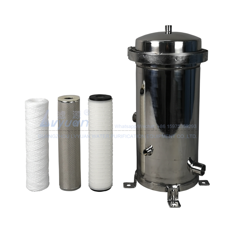 Factory supply 7 cartridge filter element stainless steel 10 inch sediment filter housing with pleated membrane filter 5 micron