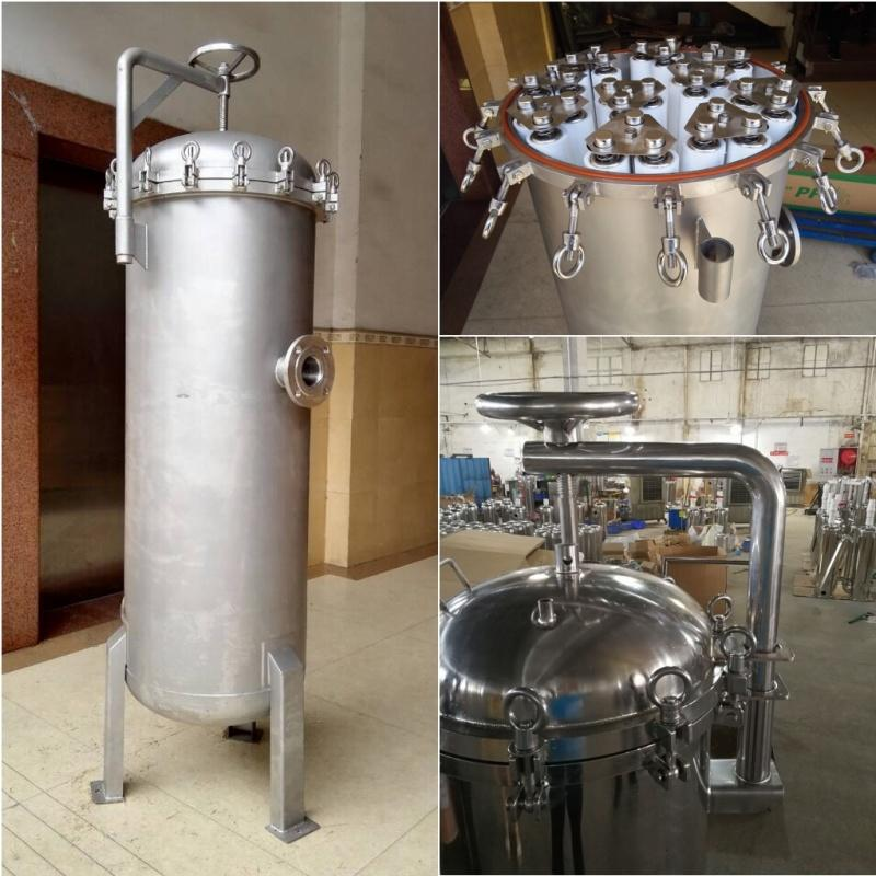 Industrial stainless steel 304 316L water filter housing with 1 5 10 micron filters liquid treatment