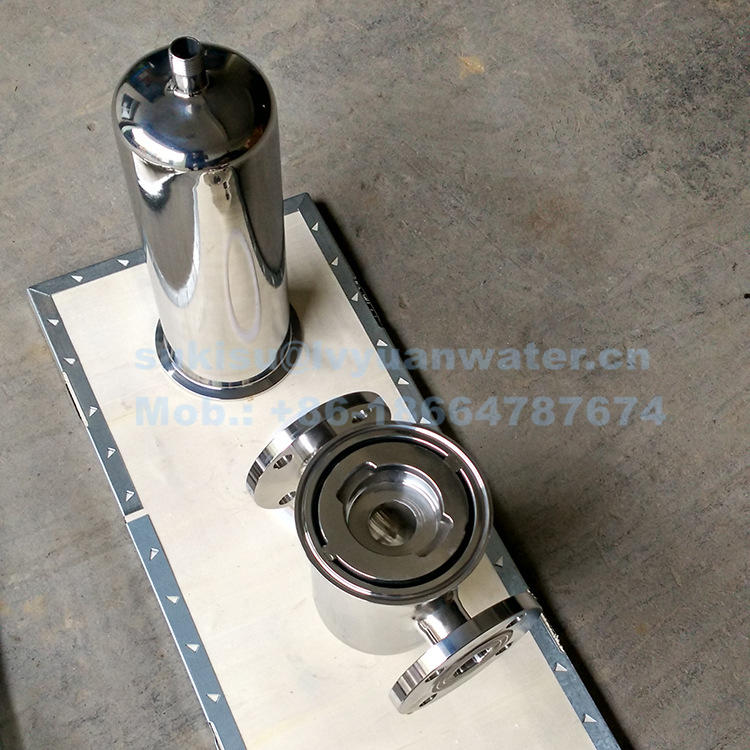 High pressure Industrial 0.1/0.2 micron stainless Steel Sterile Compressed Pipeline Air Filter with housing tank