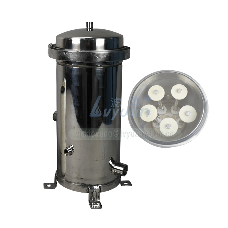 Polished design 304/316 multi SS housing 5 round filter cartridge housing for multi filter cartrige elements
