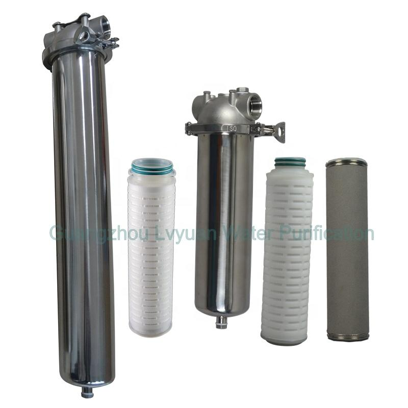 PTFE/PP/Titanium Cartridge filtration stainless steel inline filter for Air compressor and hot water treatment