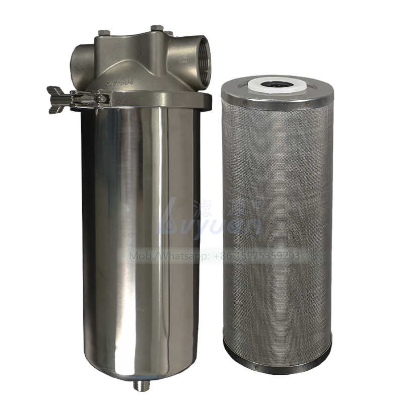 Industrial stainless steel single core 304 316L liquid filter cartridge housing with big blue SS mesh water filter 30 microns