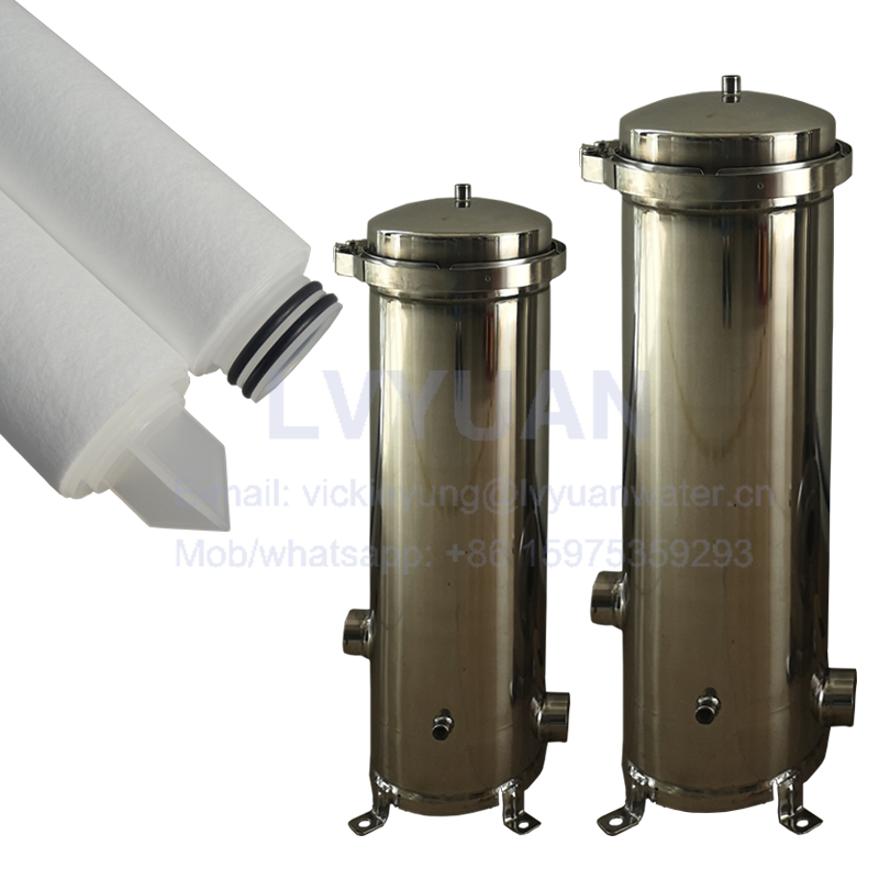 Industrial water SS304 316L stainless steel liquid security filter housing with 10/20/30/40 inch replacement filter cartridge