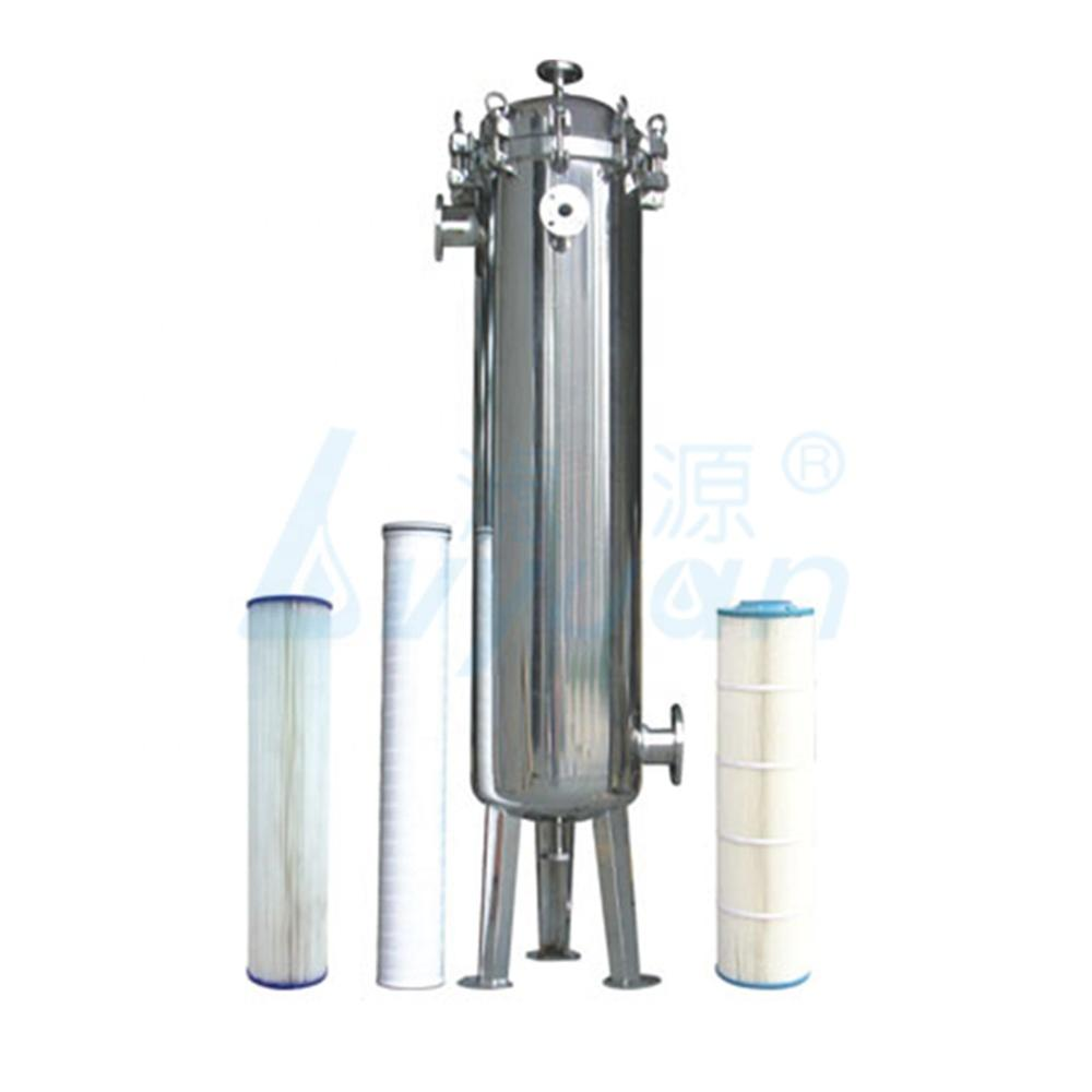 High flow water filter stainless steel housing with 20 40 60 inch high flow pleated cartridge filter 6''