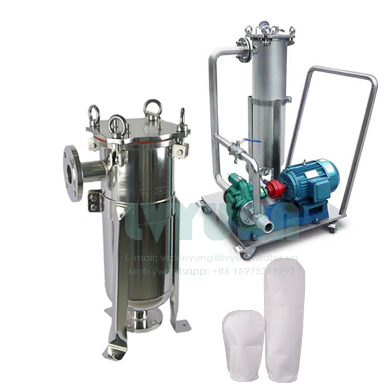 Stainless steel 1 5 10 microns big flow rate PP PE liquid bag filter SS304/306 material single bag filter for water treatment