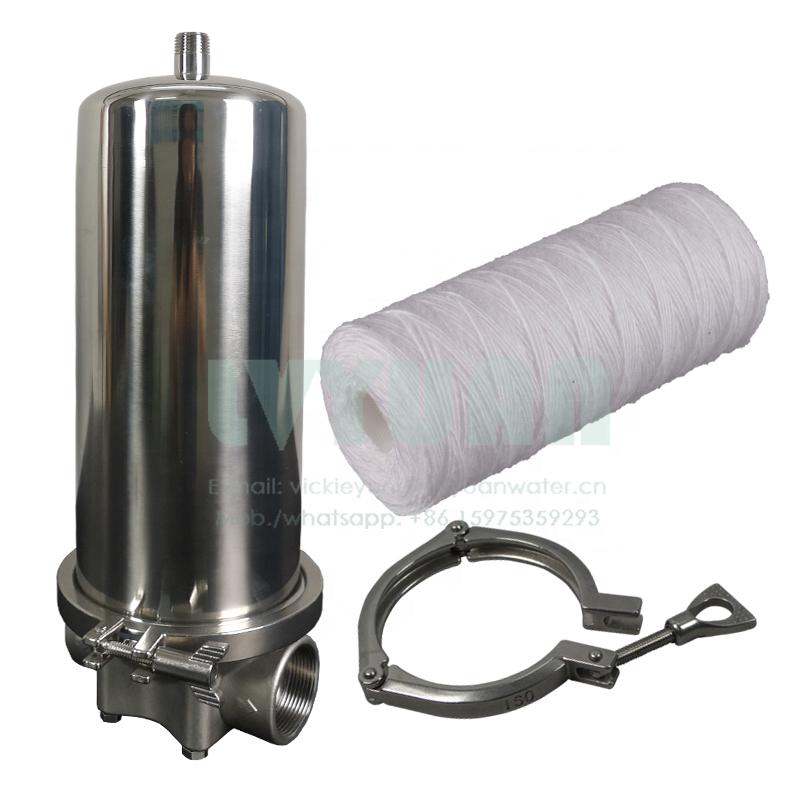 Big single clamp fin 10/20/30/40 inch ss water filter cartridge housing