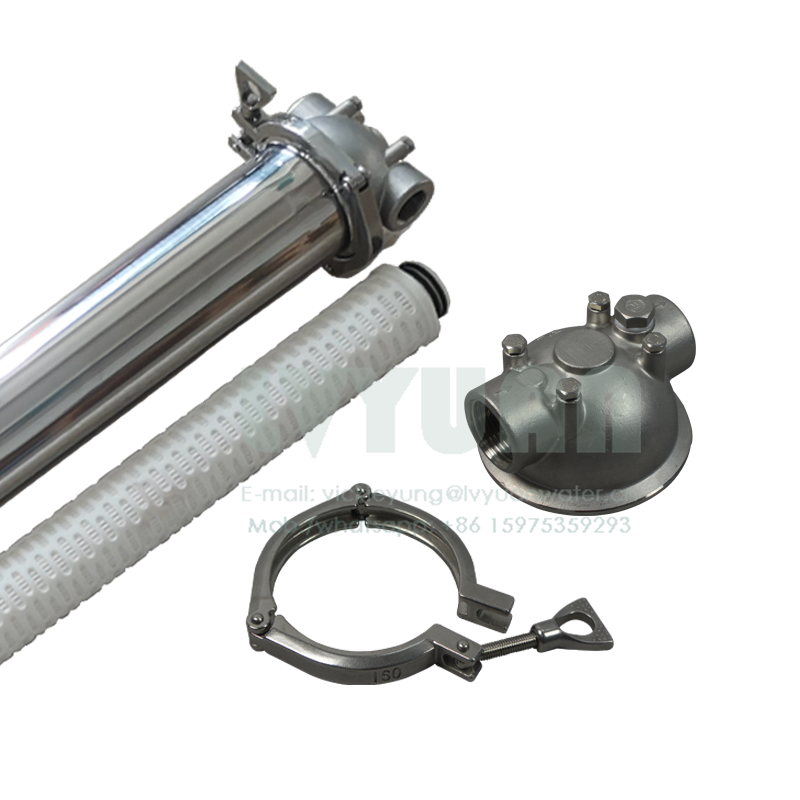 Industrial electronic polishing big water flow 10/20/30/40 inch single SS filter housing with PP pleated oil filter 10 microns
