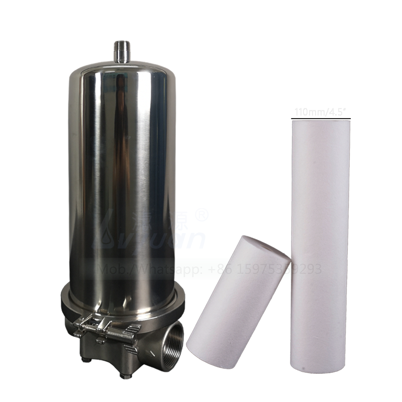 Code Q 226/Fin EPDM connector 10 inch ss stainless steel water filter housing with 5 microns polypropylene sediment PP filter