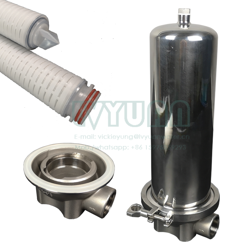 Internal thread 304/316 material stainless steel single filter housing with industrial water purifier cartridge filter 1 micron