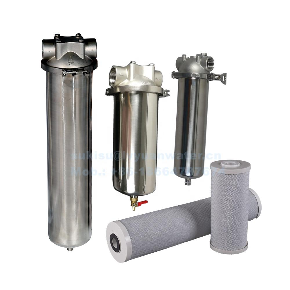 Industrial pipeline liquid treatment SS304 316 stainless steel cartridge filter housing with 20 inch single water filter element