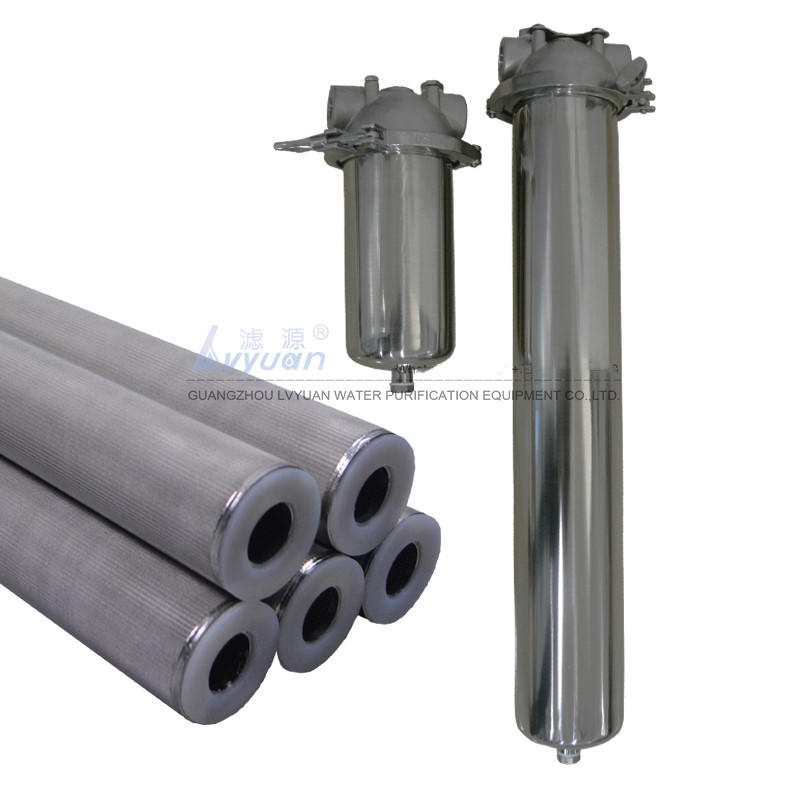 Single filter core 10 20 inch SS water filter housing with stainless steel powder cartridge water filter