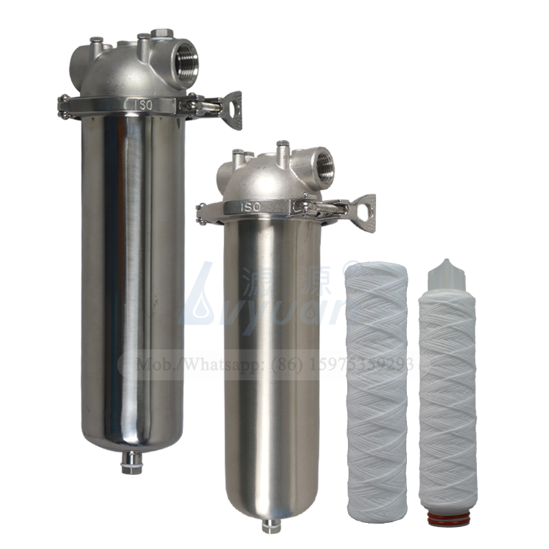 Matt or mirror polished single cartridge 10/20/30/40 inch stainless filter cartridge housing for sediment big water filter