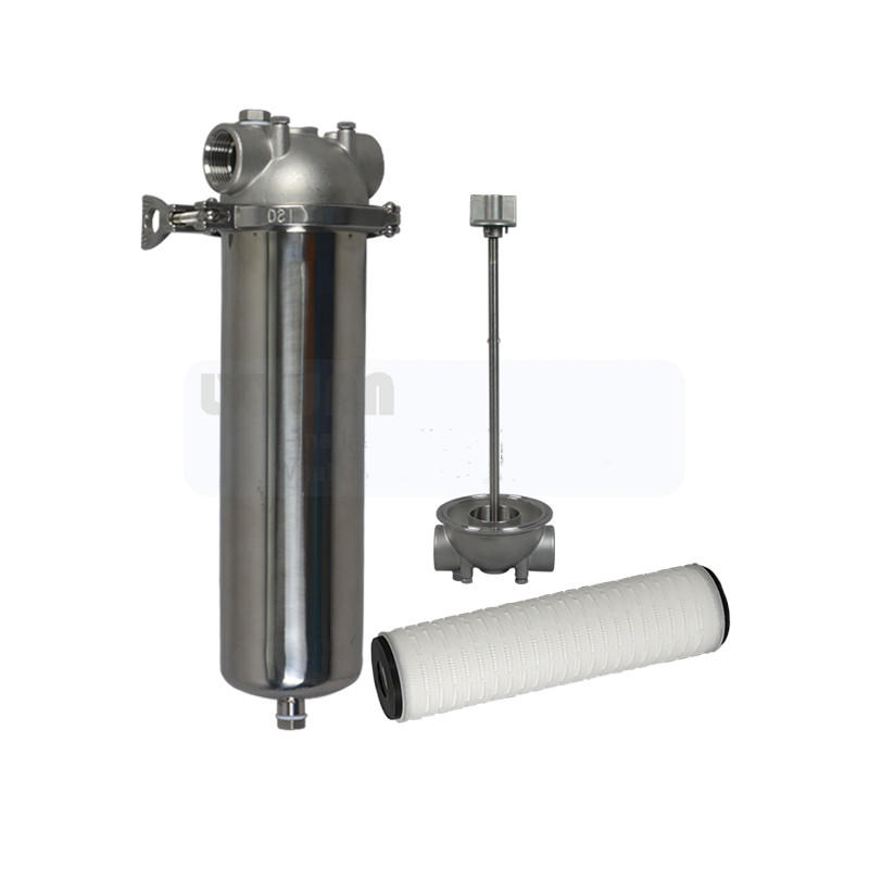 Industry water treatment stainless steel SS filter cartridge housing with single 10 20 inch pleated water filter spare parts