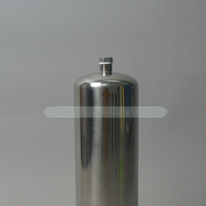 High polished single round SS304 316L 10 20 inch stainless steel housing filters with ss filter elements 5 microns