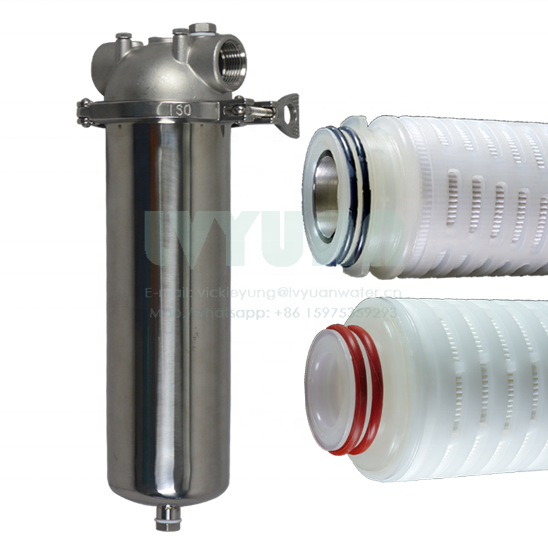 High pressure clamp 10 20 30 40 inch stainless steel filter cartridge housing with 10 micron sediment PP filter cartridge