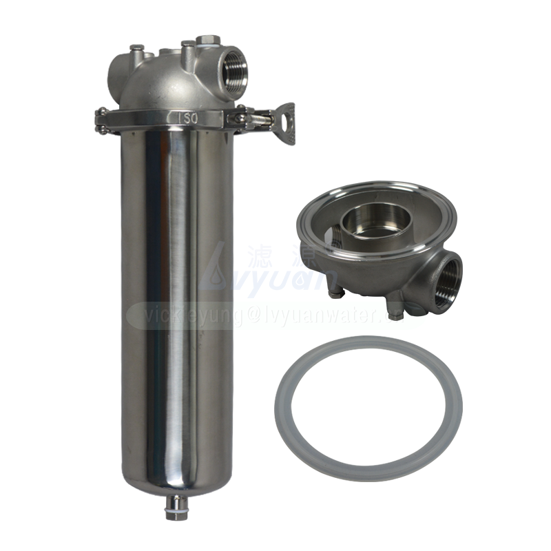 Double clamp stainless steel 20 microns cartridge filter body single SS304 filter housing for 10/20/30/40 inch DOE filter