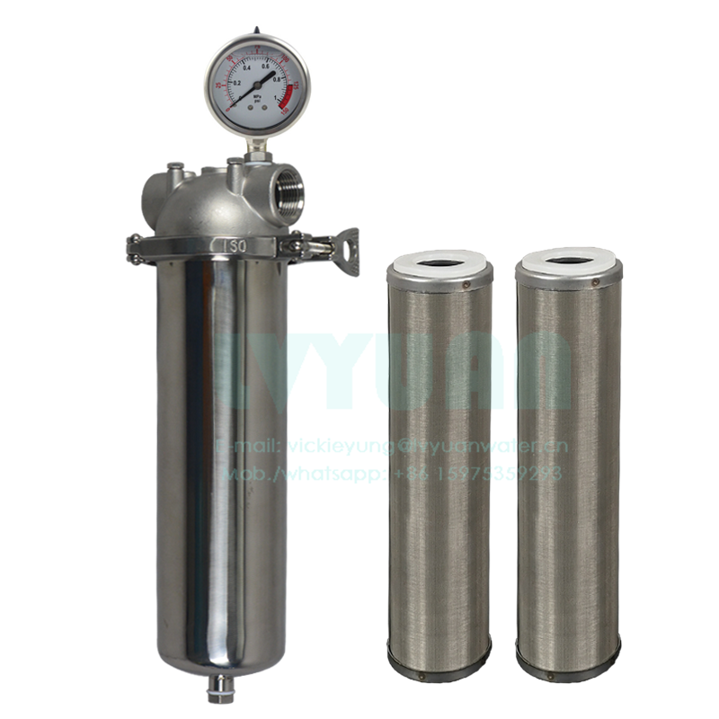 SS304 10/20/30/40 inch stainless steel cartridge filter housing with microporous membrane water filter 50 micron