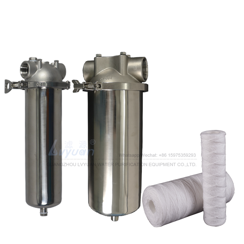 Cartridge filter type vessel 10 inch 316 stainless steel filter cartridge housing for mineral water pre purification equipment