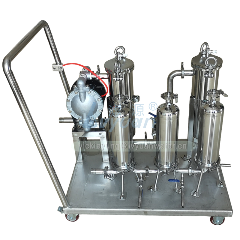 Movable type 1/2/3/4/5 stage cart model stainless steel oil filter machinery with 10 microns filter cartridge or bag filter