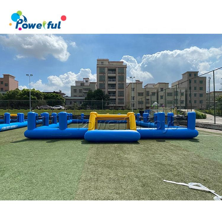 Ready to ship outdoor playground inflatable soap football court inflatable soccer field