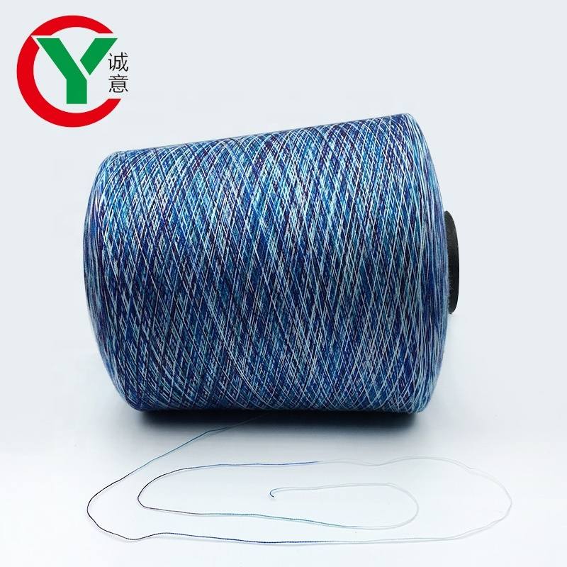 100%Polyester Space dyed cotton polyester blended knitting yarn for socks