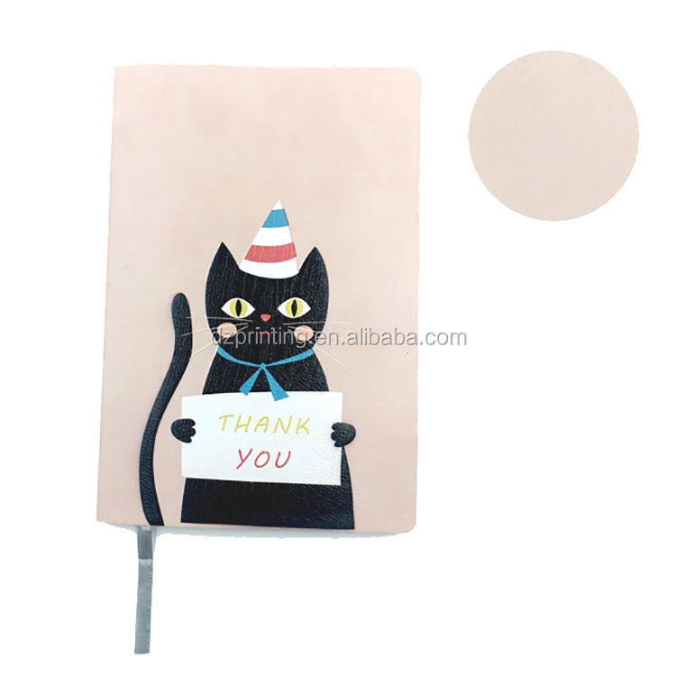 A5 Custom Logo Special Design Leather Cover Pink Background Black Cat Thank You Text Cute Notebook