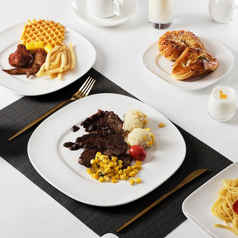 Square Porcelain Wholesale Hotel Tableware, Customized Logo Restaurant White Ceramic Dinnerware+sets