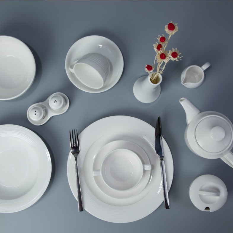 Five Star Hotel CrockeryIndia Stock Ceramic Tableware for Restaurant, White Plates Sets Dinnerware>