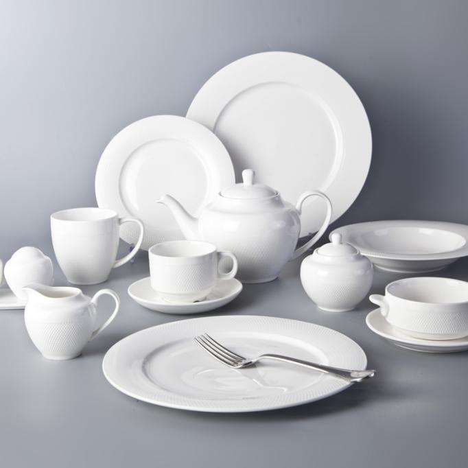 Airline catering fine ceramic white porcelain modern restaurant plates top choice dinnerware