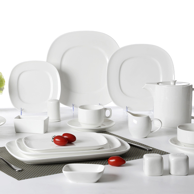 USA White Square Porcelain Dinner Sets Dinnerware Restaurant White Ceramic Tableware Set