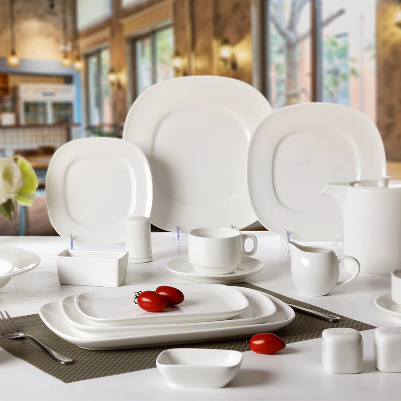 Hotel Restaurant Banquet White Porcelain Ceramic Dinnerware Sets, Square Rectangle Plates For Dinner
