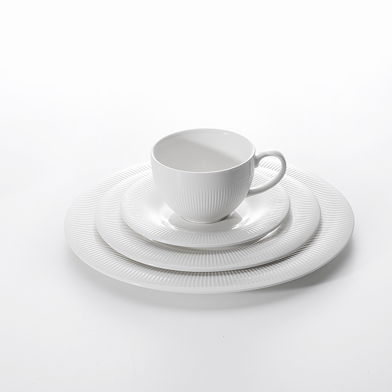 Italia Catering 4pc Porcelain Dinner Set, Banquet Hall Crockery Dinnerware Sets, Catering Plates&
