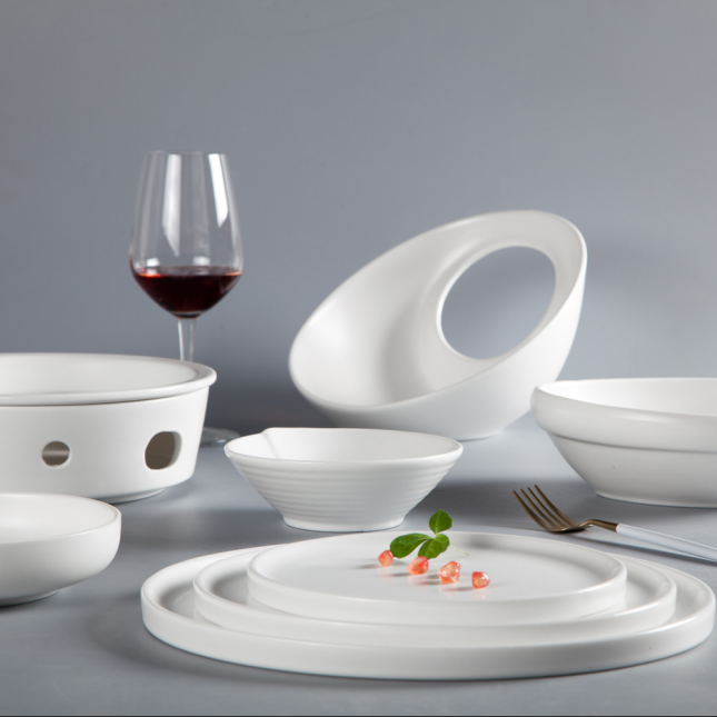 White restaurant use ceramic ware china porcelain dinnerware set