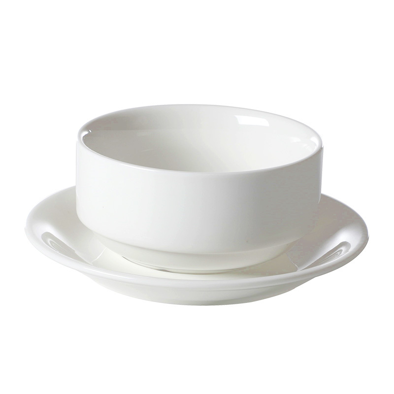 White Ceramic Tableware Restaurant Hotel Resort Porcelain Dinner Set Dinnerware