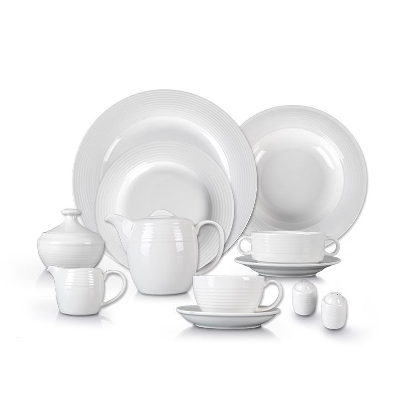 White Hotel Dinnerware Plate Sets, Restaurant Used Good Price Porcelain Tableware, Catering Luxury White Dinner Set/