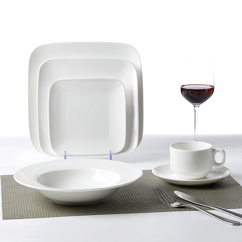 Mid East Market Hot Sale Scratch proof Dinnerware Square Sets, Ceramics Dinner Set, Restaurant White Square Ceramic Set