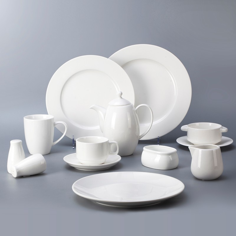 Classic Wholesale White Crockery For Restaurant, Dinnerware Full Set Hotel, Fine Bone China Dinnerware&
