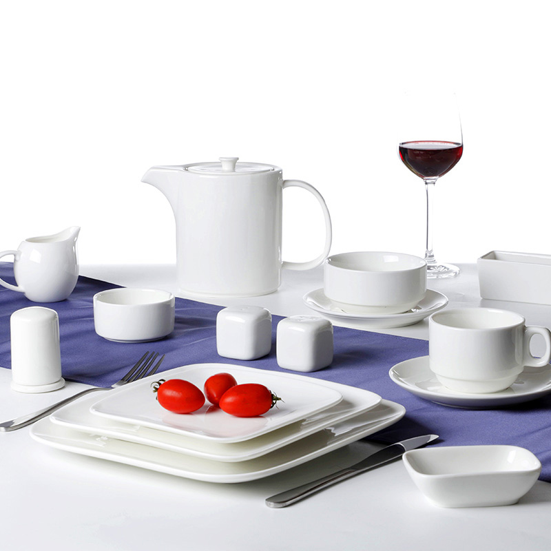 Hotel Porcelain Square Dinner Set Catering White Restaurant Tableware
