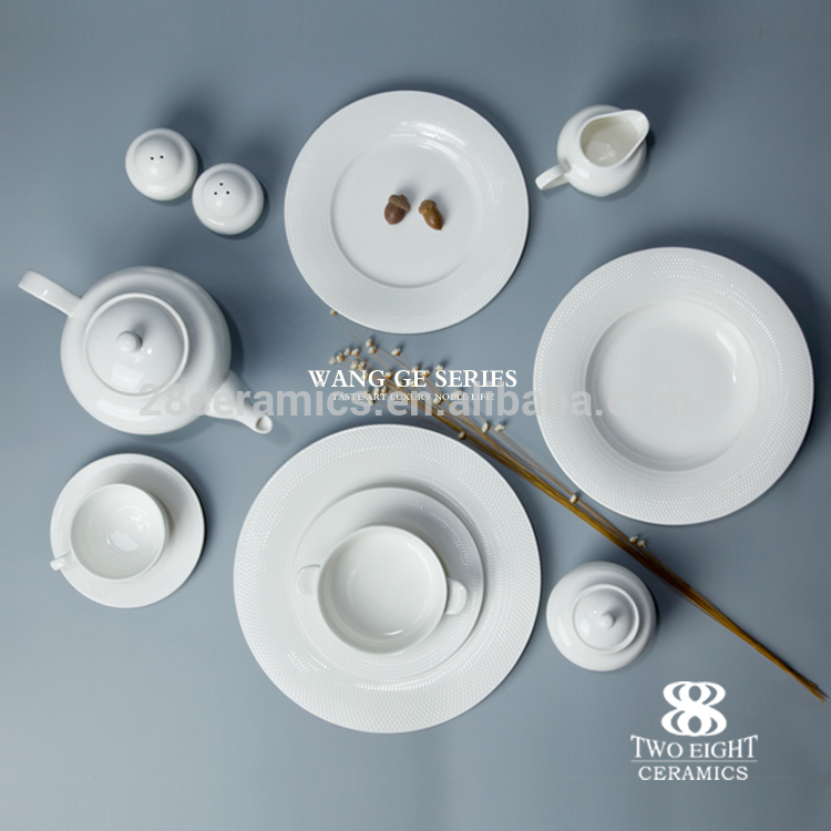 Hot style hotel & restaurant used crockery tableware elegant fine porcelain dinner set