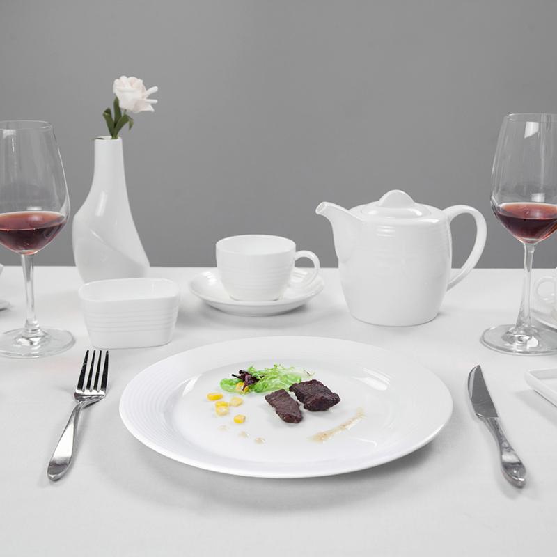 Restaurant Italian Tableware, Ceramic Hotel Wholesale White Dinner Set, Banquet Crokery Luxury Dinner Set Dinnerware$