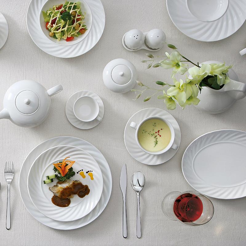 White Wedding Restaurant Dinner Set Hot Sale Crockery Hotel Dinnerware Sets