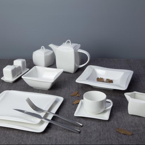 Wholesale fine quality fine dining mending plate square edge christmas plates cheap