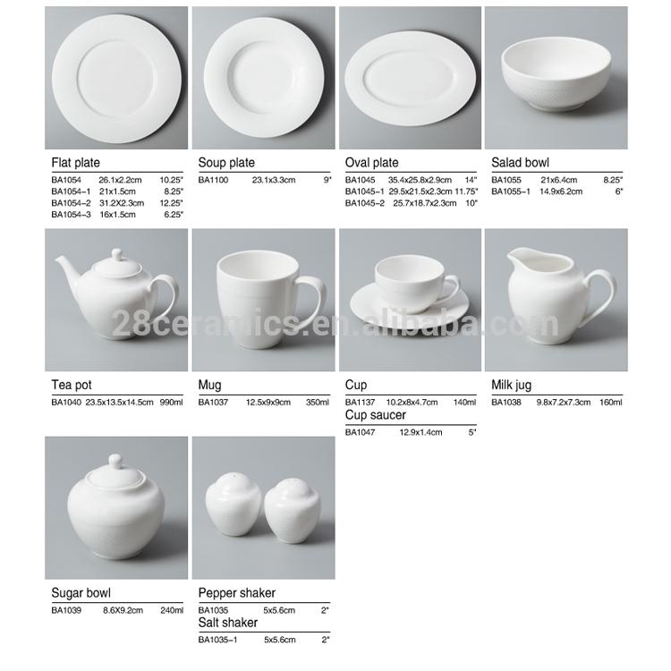 Hot style hotel & restaurant used crockery tableware elegant fine porcelain dinner set