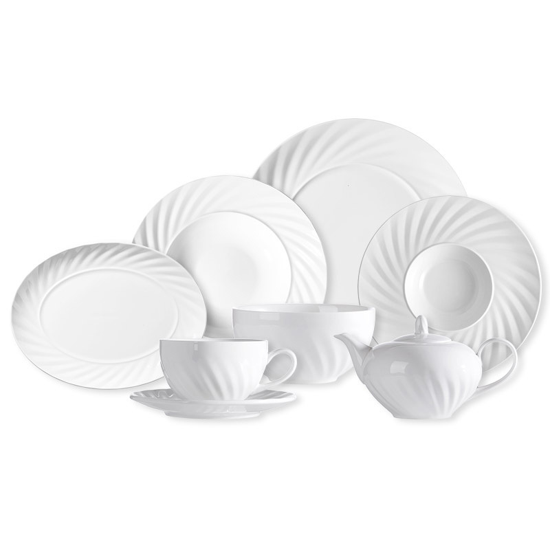 High Quality Good Price White Tableware Set, Portuguese Porcelain Dinnerware Set, White Restaurant Plates Dinnerware