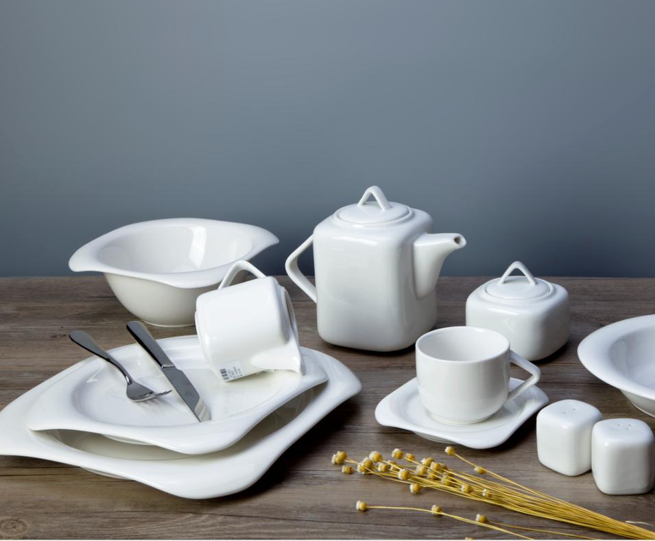 Western Wedding Hotel White Porcelain 2019 Ceramic Breakfast Dinnerware Set, White Plates Sets Dinnerware