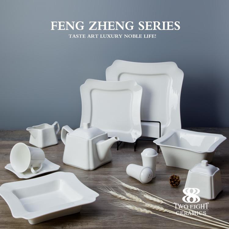 Wholesale Bone China White Plates Crockery Set Porcelain Dinnerware