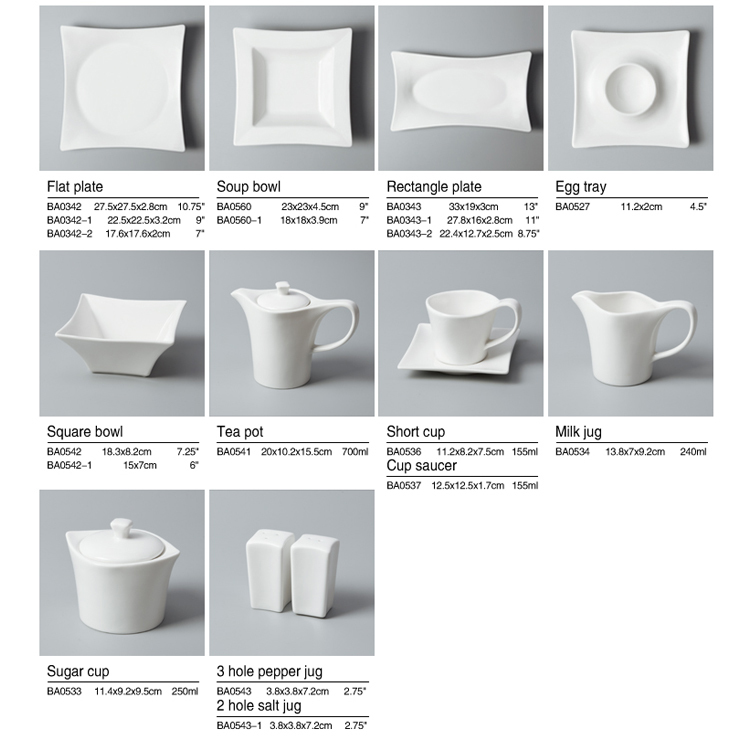 Durable modern dinnerware white porcleian tableware hotel dinning table set