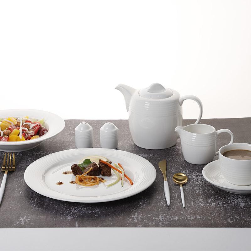 Grace Designs Ceramic Dinnerware Set, Banquet Porcelain Tableware Set Dinnerware, White White Dinnerware Set#
